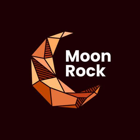 crescent moon rock stone gem logo vector icon illustration