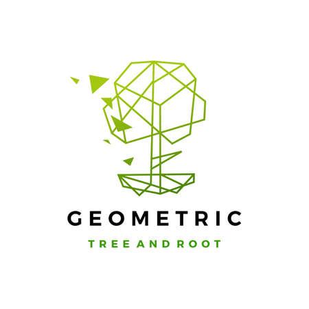 geometric tree root polygonal tech logo vector icon illustration