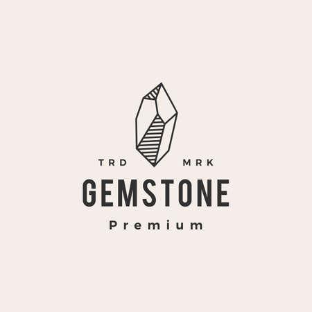 gem stone hipster vintage logo vector icon illustration