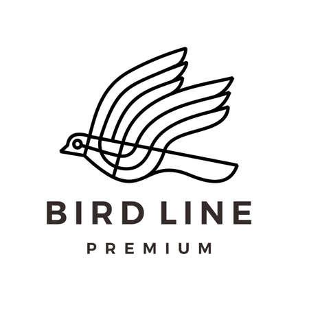 bird line monoline logo vector icon illustration