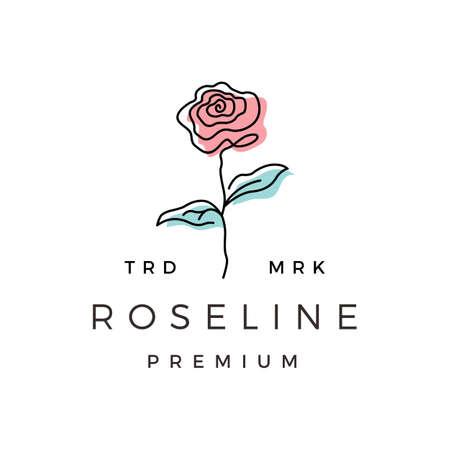 rose line outline monoline logo vector icon illustration Ilustrace