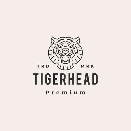 tiger head outline hipster vintage logo vector icon illustration Ilustrace