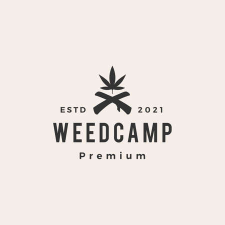 weed camp cannabis tree hipster vintage logo vector icon illustration