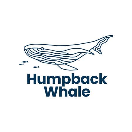 humpback whale outline monoline logo vector icon illustration