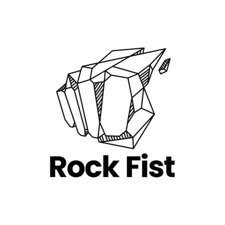 rock stone fist fight boxing logo vector icon illustration