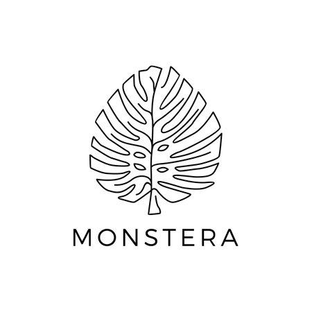 monstera outline logo vector icon illustration