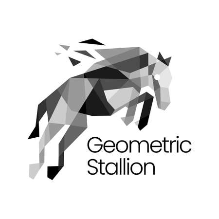 stallion horse geometric polygonal logo vector icon illustration