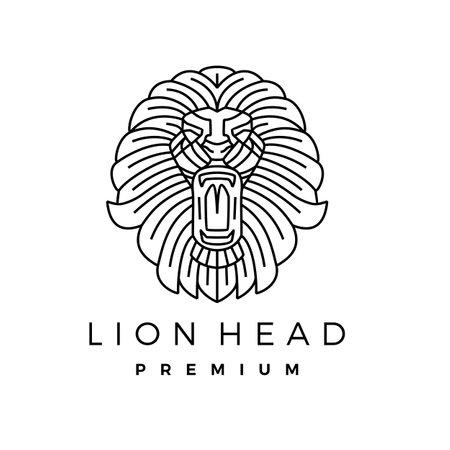 lion head monoline outline line art logo vector icon illustration