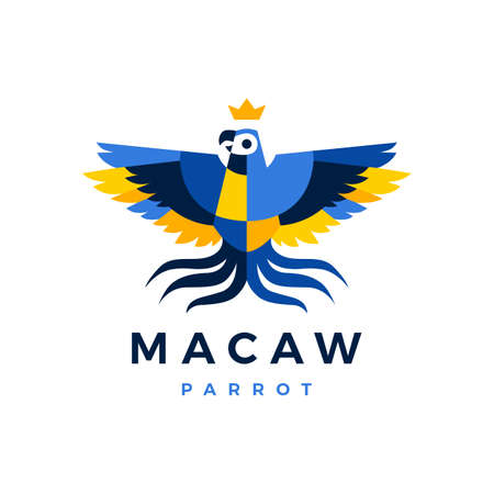 macaw parrot crown blue yellow bird logo vector icon illustration