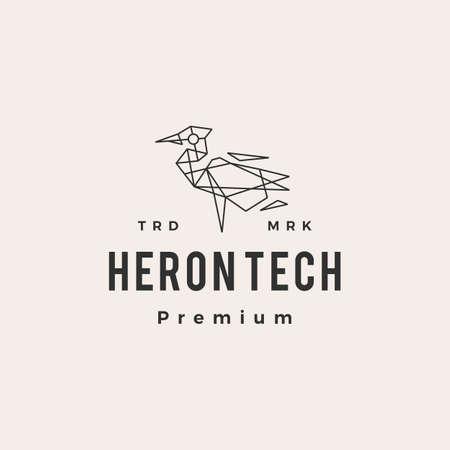 heron tech hipster vintage logo vector icon illustration