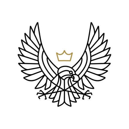 eagle hawk bird of prey motorcycle club logo vector icon illustration Logo