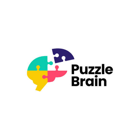 puzzle brain logo vector icon illustration Logo