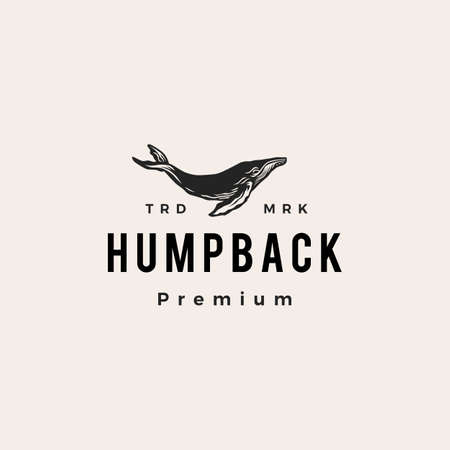 humpback whale hipster vintage logo vector icon illustration