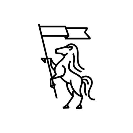 horse flag monoline logo vector icon illustration