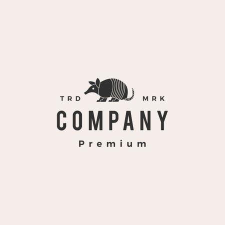 armadillo hipster vintage logo vector icon illustration