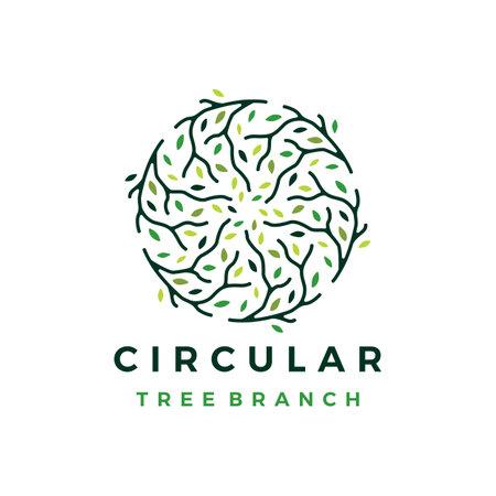 circle circular tree branch logo vector icon illustration