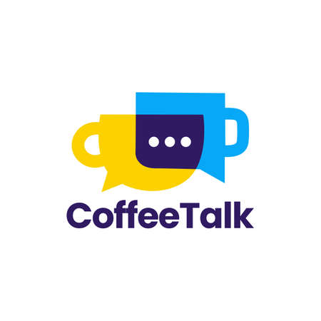 coffee talk chat bubble social logo vector icon illustration Ilustração