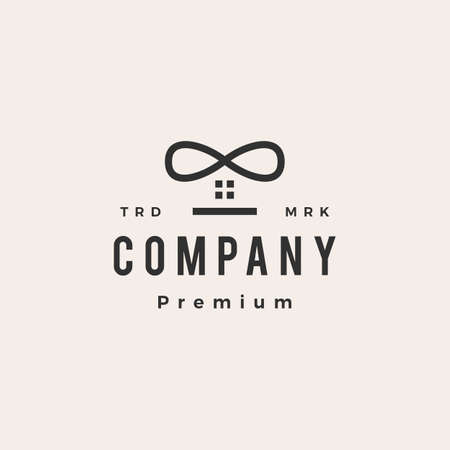 infinity house hipster vintage logo vector icon illustration