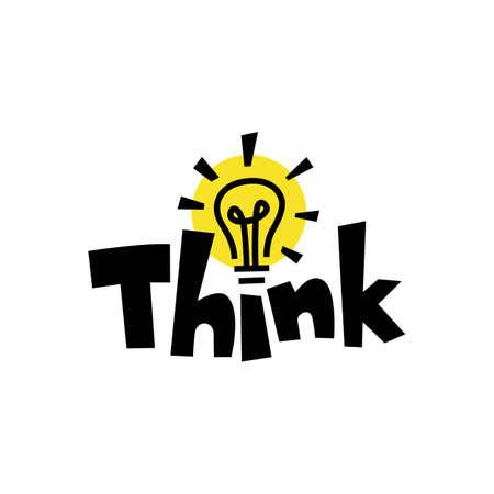 think word mark bulb lamp idea smart quote logo vector icon illustration