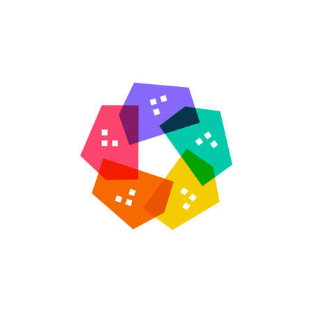 house colorful star flower logo vector icon illustration