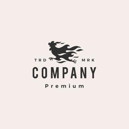 fire rooster chicken running hipster vintage logo vector icon illustration