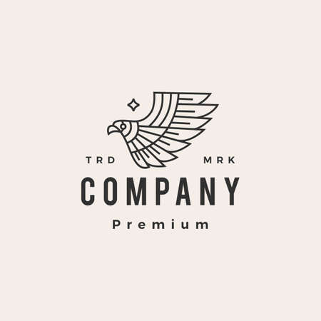 bird of prey eagle hipster vintage logo vector icon illustration