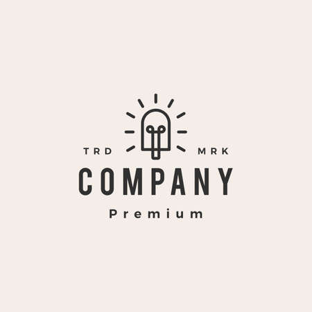 popsicle bulb hipster vintage logo vector icon illustration