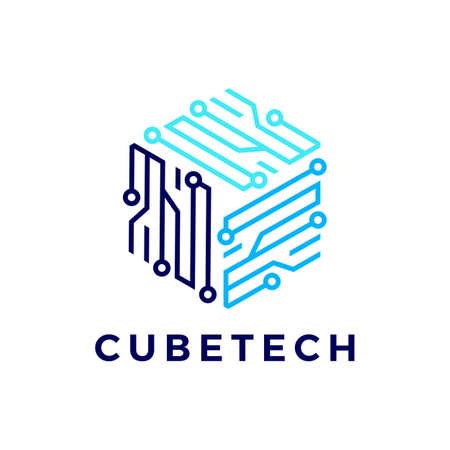 cube tech technology electric circuit logo vector icon illustration