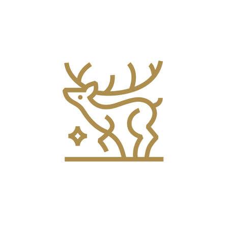 deer star monoline outline logo vector icon illustration