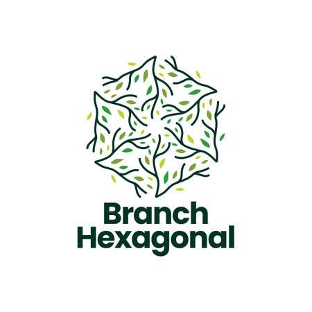 tree branch leaf hexagon hexagonal logo vector icon illustration