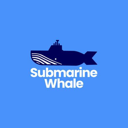 submarine whale humpback logo vector icon illustration