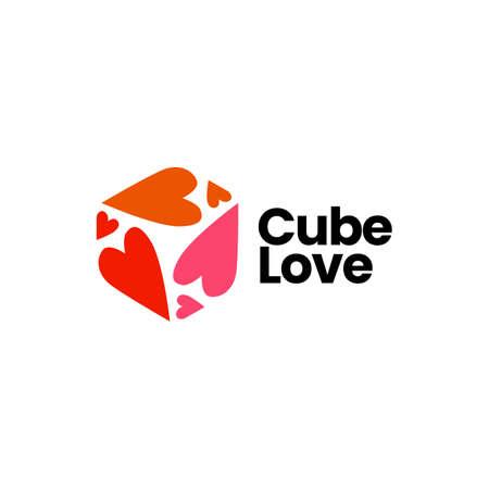 cube love heart logo vector icon illustration