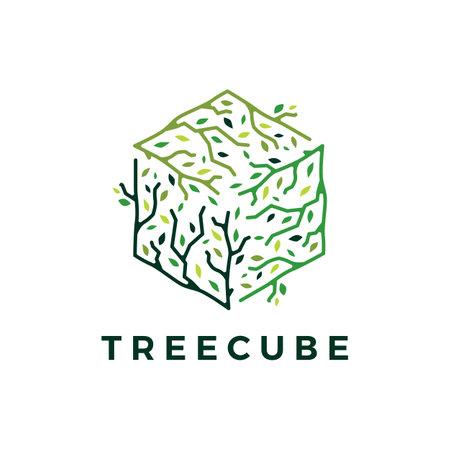 cube cubical tree branch leaf logo vector icon illustration