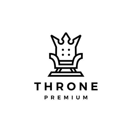 throne crown king logo vector icon illustration Ilustração