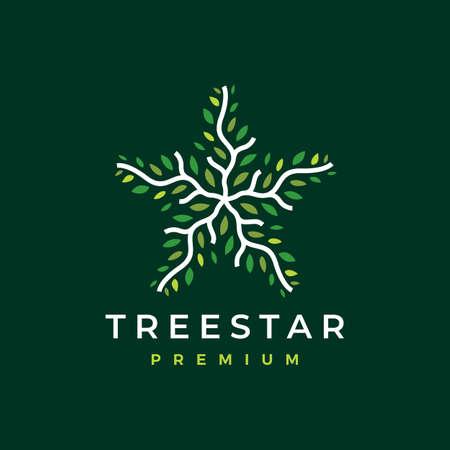 tree star branch leaf logo vector icon illustration Ilustração