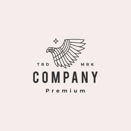 bird of prey monoline hipster vintage logo vector icon illustration