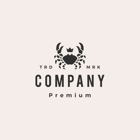 crab king seafood hipster vintage logo vector icon illustration