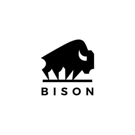bison american buffalo logo vector icon illustration Ilustração