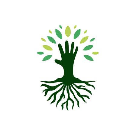 kid hand tree root logo vector icon illustration