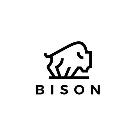 bison american buffalo monoline outline logo vector icon illustration Ilustração