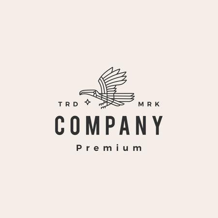 toucan monoline hipster vintage logo vector icon illustration