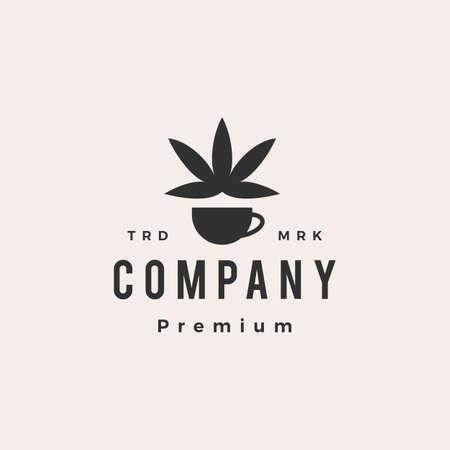 coffee cannabis hipster vintage logo vector icon illustration