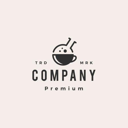 coffee lab laboratory hipster vintage logo vector icon illustration Ilustração