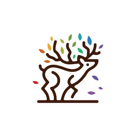 deer tree branch leaf colorful monoline outline logo vector icon illustration
