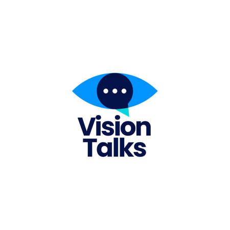 vision talk eye chat logo vector icon illustration
