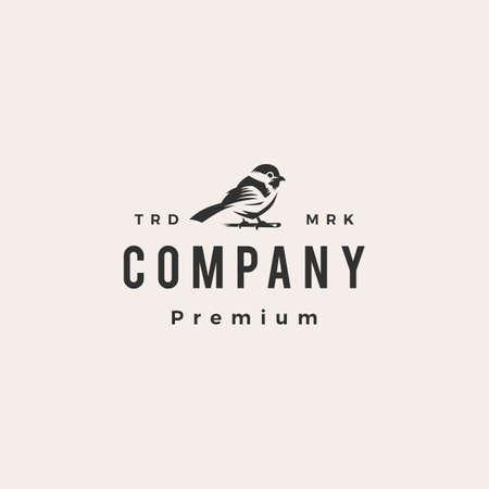chickadee hipster vintage logo vector icon illustration