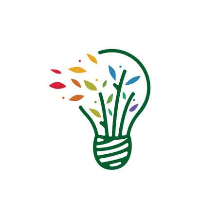 bulb leaf tree idea smart think logo vector icon illustration