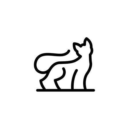 cat monoline outline logo vector icon illustration