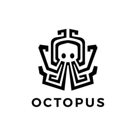octopus kraken logo vector icon illustration