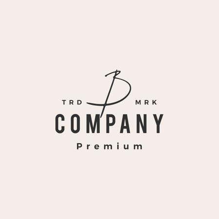 b letter mark signature hipster vintage logo vector icon illustration